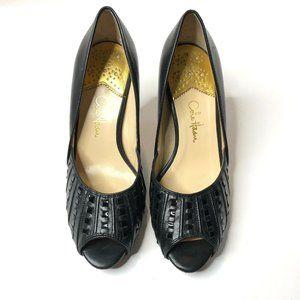 Cole Haan Melinda Air Black Heels Peep Toe 5.5B